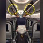 A stewardess elhatározta, videóra veszi, be tud-e csukni egyszerre négy csomagtárolót a lábával: így sikerült a mutatvány