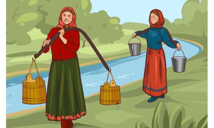Az éles szeműek hamar kitalálják, melyik hölgy ér haza több vízzel